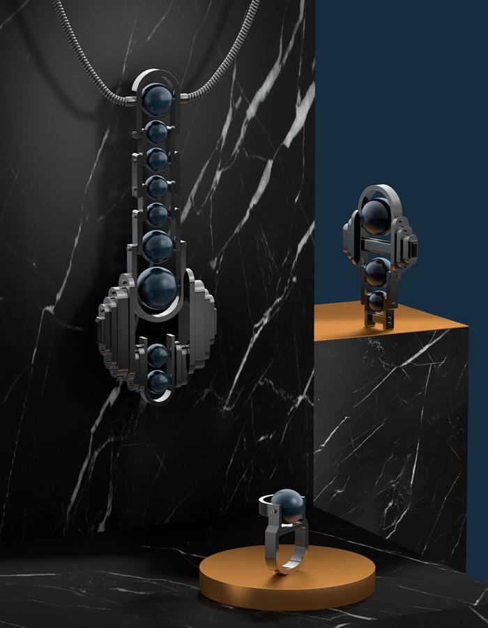 necklace brooch ring gun metal pearl
