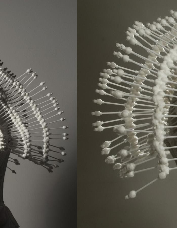 costume made of cotton buds 2008 year