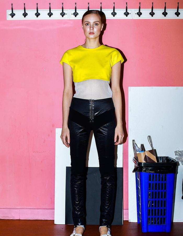 singlet, low neck crop top with & trousers