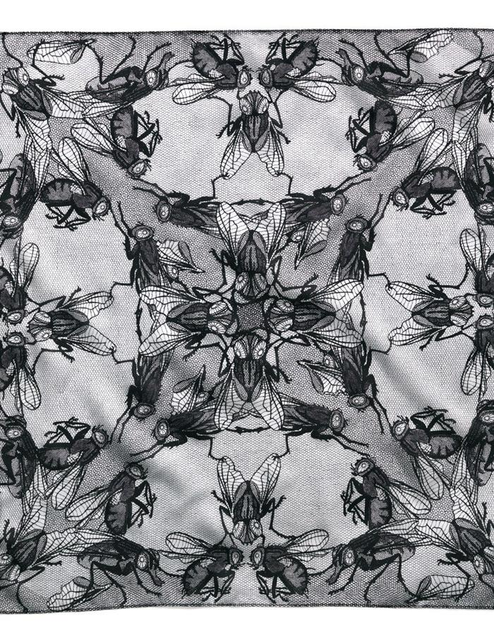 Fly Lace I - hand screen printed silk bandana scarf
