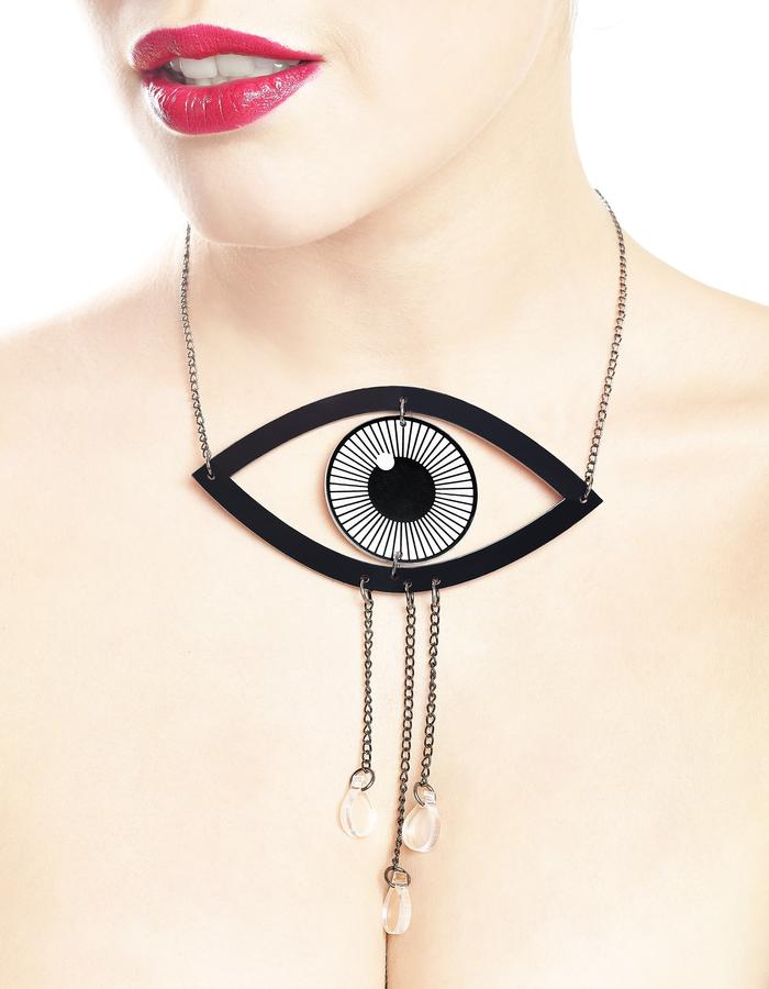 Crying eye necklace by LIFE IN MONO Jewelry