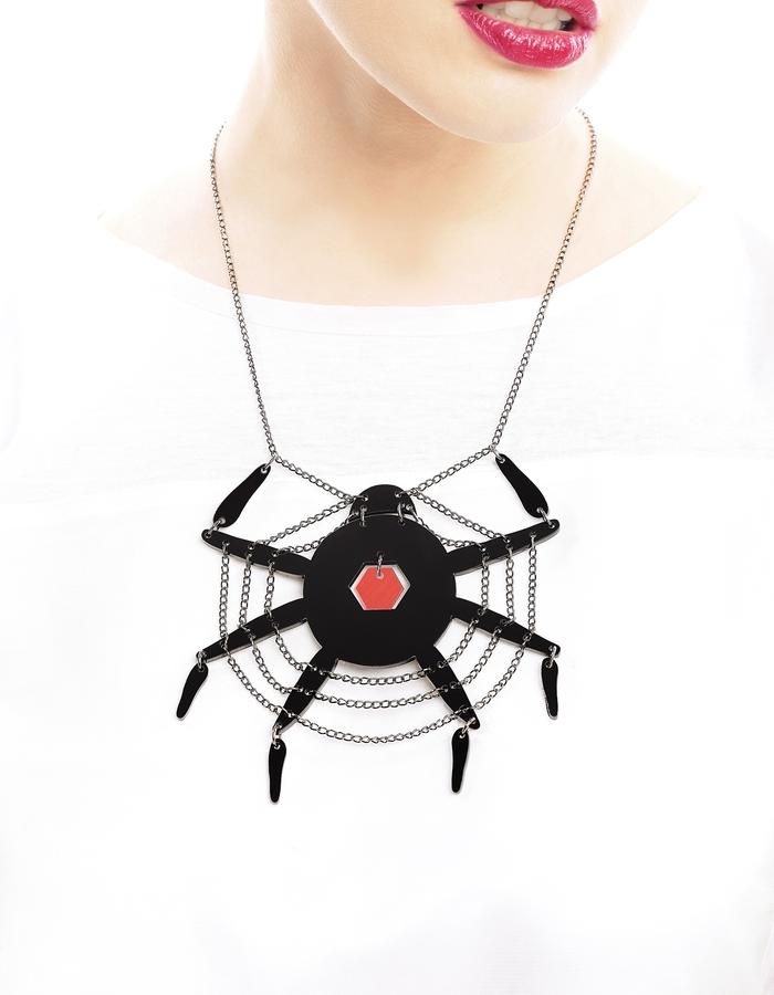 Spiderweb necklace by LIFE IN MONO Jewelry