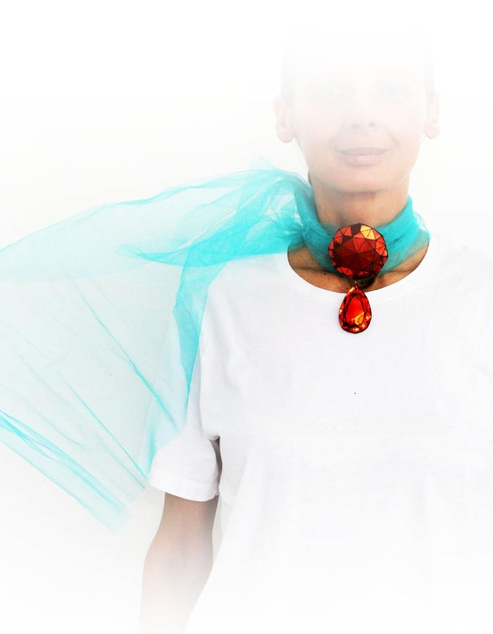 Mona Velciov Monotip Koh-i-Noor pendant/necklace/scarf leather&textile jewelry