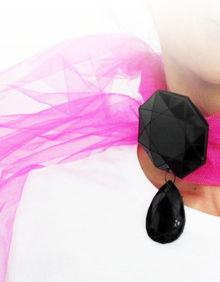 pendant/necklace/scarf leather&textileaMona Velciov Monotip Koh-i-Noor pendant/necklace/scarf leather&textile jewelry jewelry