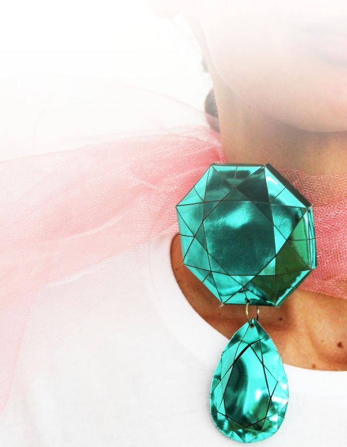 pendant/necklace/scarf leaaMona Velciov Monotip Koh-i-Noor pendant/necklace/scarf leather&textile jewelryther&textile jewelry
