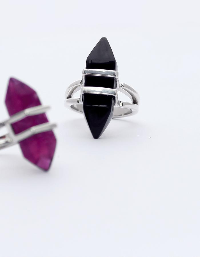 ORPHEUS and EURYDICE - silver rings with fluorite and obsidian