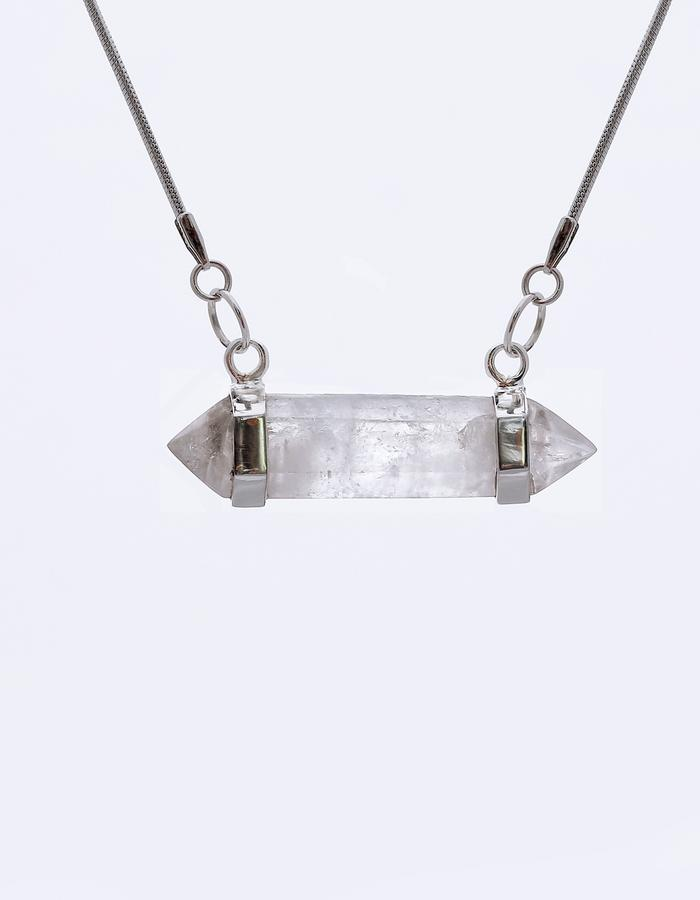 FROSTI - clear quartz pendant with silver frame