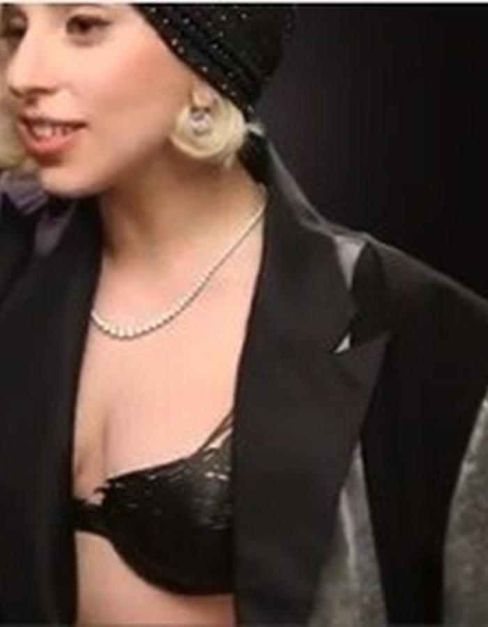 Lady Gaga wearing the drawn bra