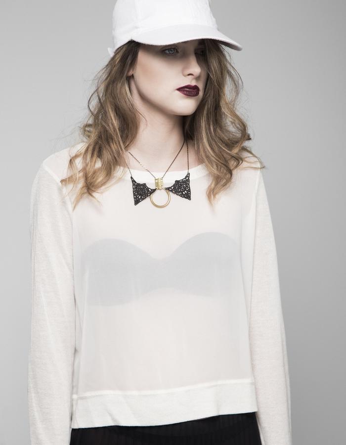Locked collar necklace black