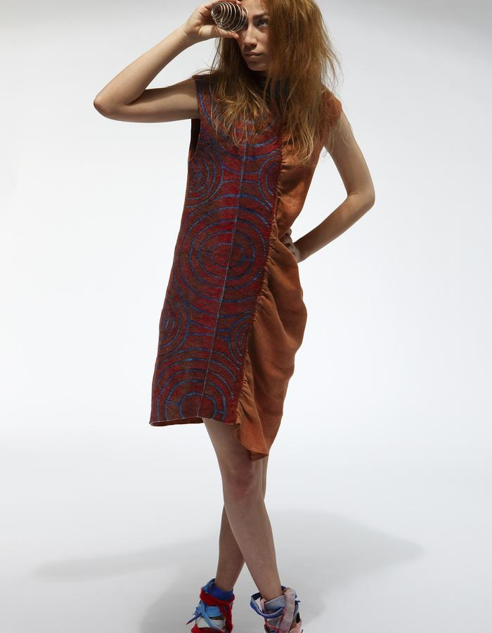 Dress. Using natural materials: leather, linen, hand made felt, natural dyeing, pattern-unique technik.