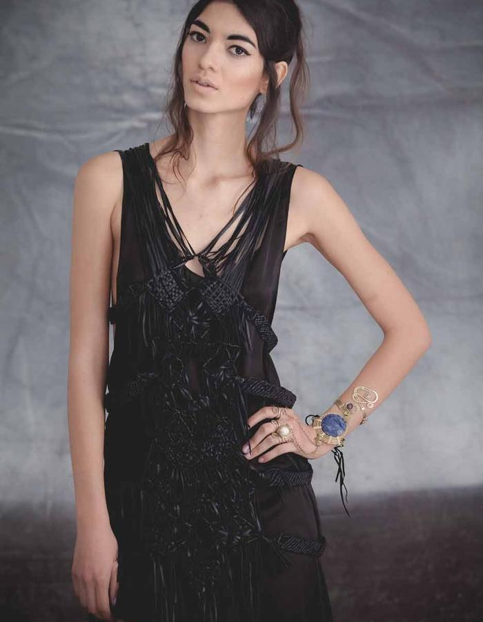 Handmade Leather Macramé dress with satin silk