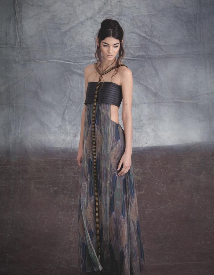 LEather and Silk Chiffon digital print dress