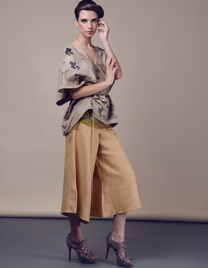 Blouse with wide leg trousers. Using natural materials: linen, hand made felt, dyed with eco print.