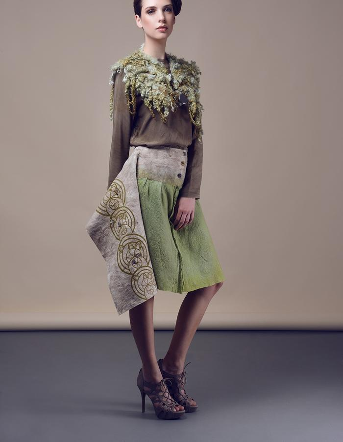 Blouse with asymetric printed skirt, shawl. Using natural materials: silk, wool, hand made felt, dyed with eco dying.