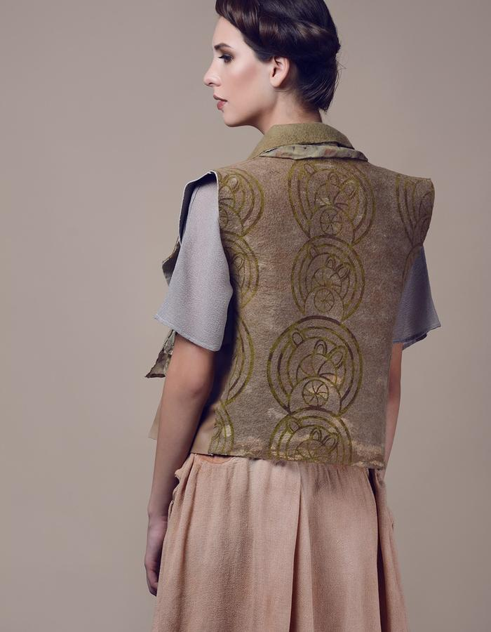 Printed waistcoat. Using natural materials: leather, hand made felt, eco dying.
