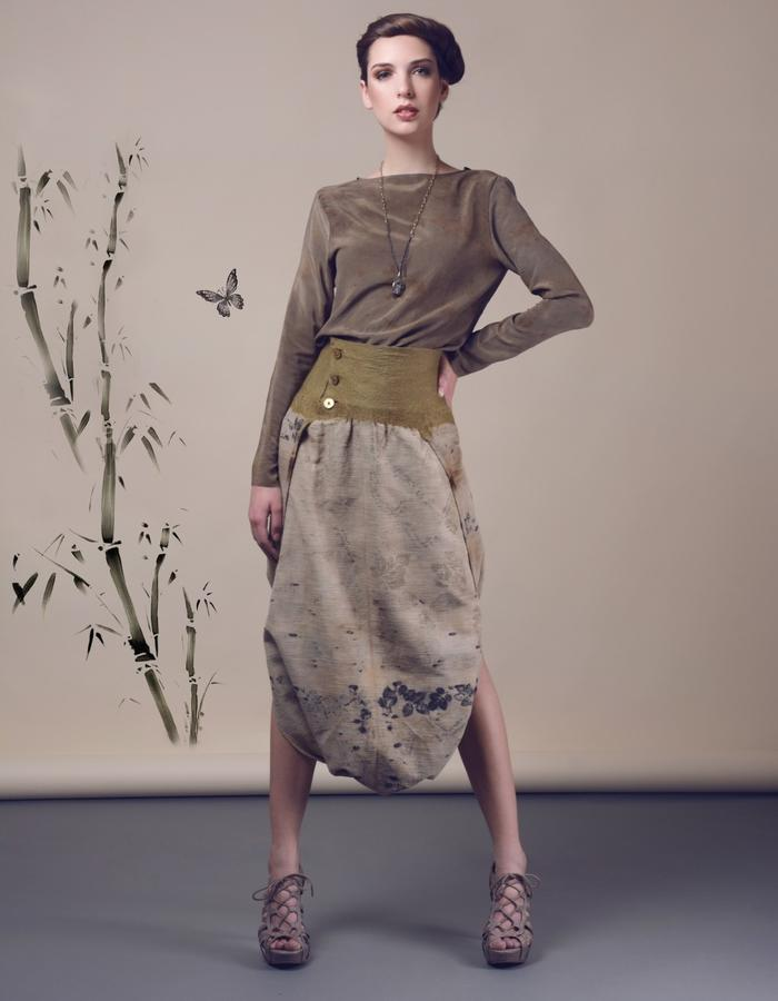 Blouse with baggy skirt. Using natural materials: silk, linen, hand made felt, dyed with eco print.