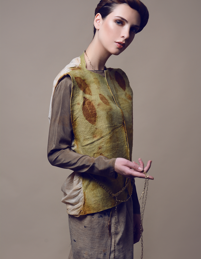 Blouse with waistcoat. Using natural materials: silk, hand made felt, dyed with eco print.