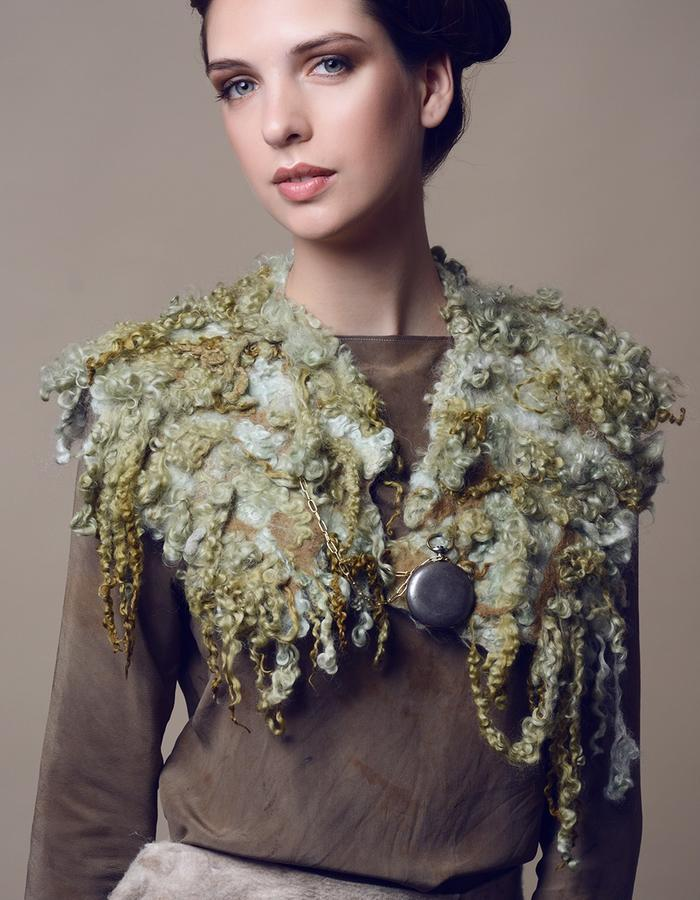 Blouse with felted shawl.Using natural materials: silk, wool, hand made felt, dyed with eco dying.