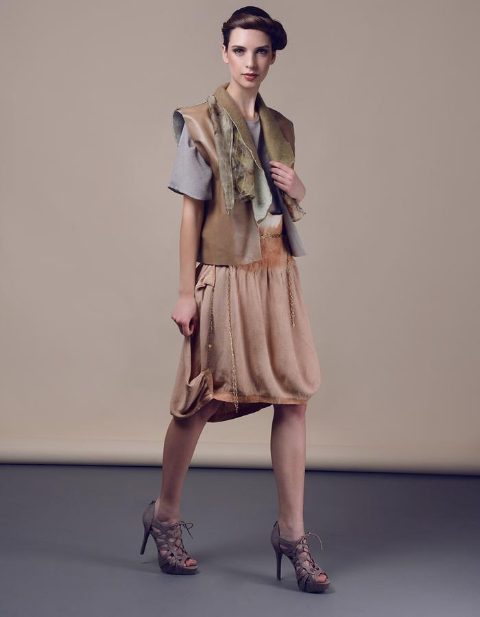 Blouse with asymmetric skirt, waistcoat. Using natural materials: silk, linen,leather, hand made felt, dyed with eco print.