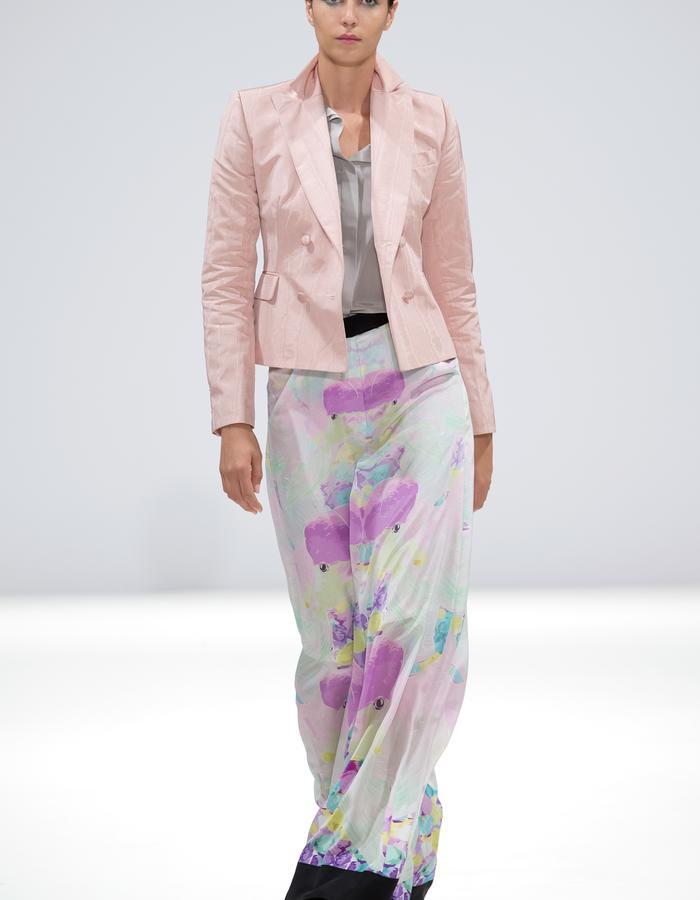 Ong-Oaj Pairam SS15 Spring Summer 15. Koi Silk Hakaman Trousers. Pink Jacket.