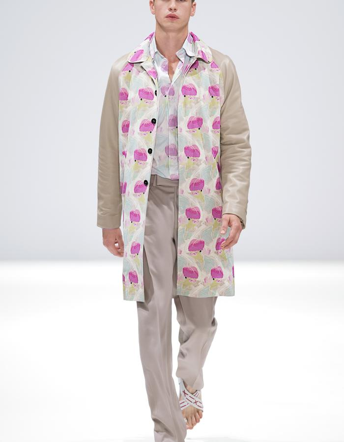 Ong-Oaj Pairam SS15 Spring Summer 15. Menswear. Mens Koi Printed Parka, Mens Relaxed fit trouser, Mens Koi Printed silk shirt. Japanese Stitched Sandals