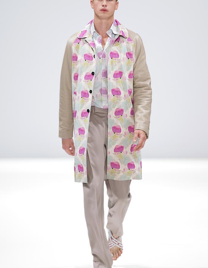 Ong-Oaj Pairam SS15 Spring Summer 15. Menswear. Mens Koi Printed Parka, Mens Relaxed fit trouser, Mens Koi Printed silk shirt. Japanese Stitched Sandals