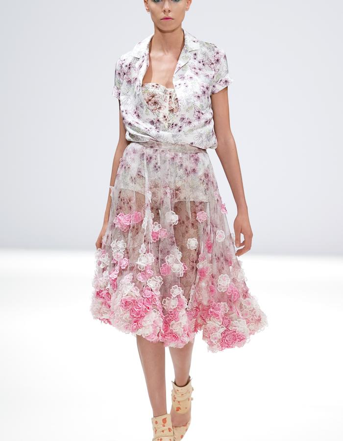 Ong-Oaj Pairam SS15 Spring Summer 15. Hand Embroidered Cherry Blossom Skirt, Silk Cherry Blossom blouse, Cherry Blossom Bikini
