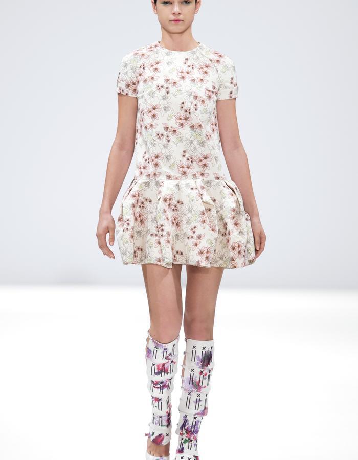 Ong-Oaj Pairam Spring Summer 15 Hand Painted Snakeskin Gladiator boots Cherry Blossam Dress