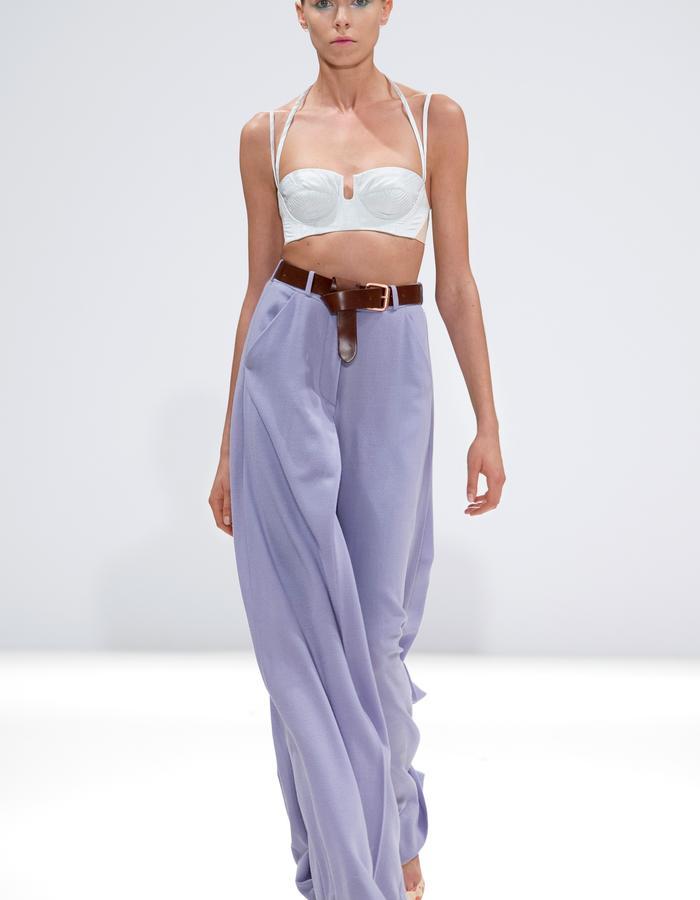 Ong-Oaj Pairam SS15 Spring Summer 15. Hakaman Trousers. Bikini Top in Silk Moire.