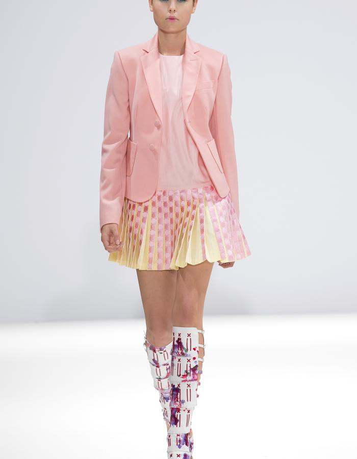 Ong-Oaj Pairam SS15 Spring Summer 15 Hand Painted Snakeskin Gladiator Boots, Pleated pink embroidered school dress and blazer