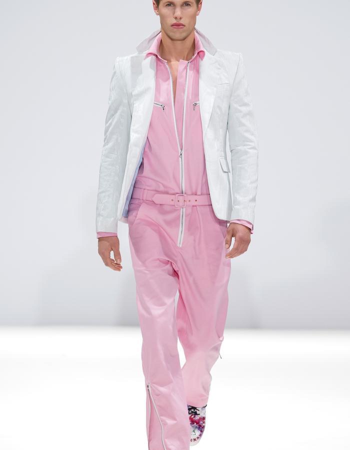 Ong-Oaj Pairam SS15 Spring Summer 15. Men's Pink Boiler Suit. Mens  Moire Sky Blue Blazer.