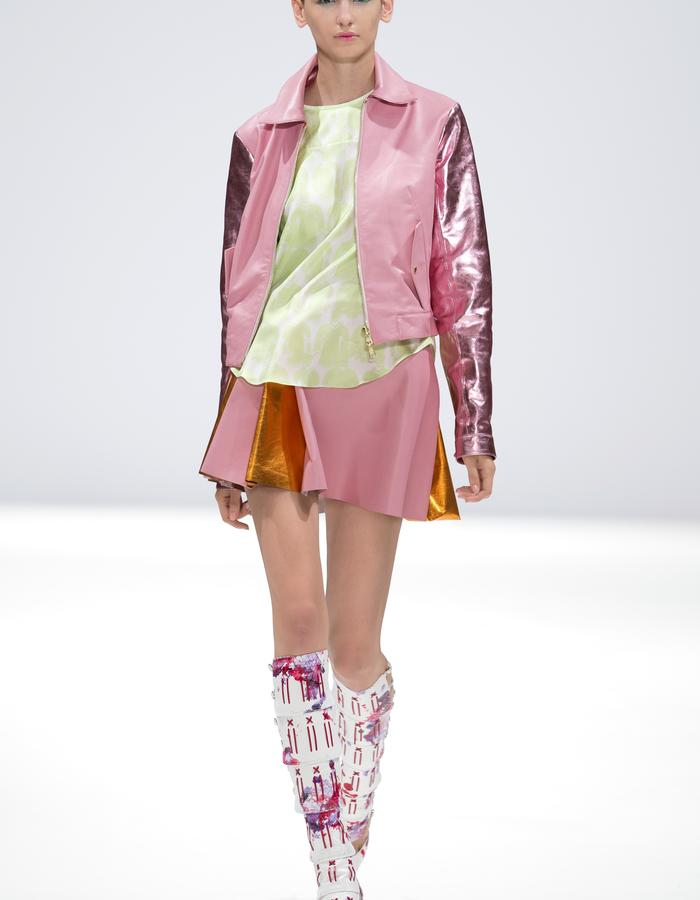 Ong-Oaj Pairam SS15 Spring Summer 15 Hand Painted Snakeskin Gladiator Boots, Metalic Leather A-Line Skirt, Embossed green blouse, Shocking Pink Metallic Biker Jacket