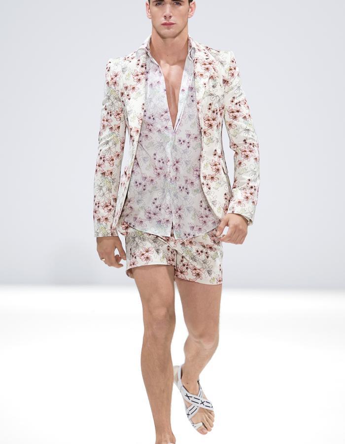 Ong-Oaj Pairam SS15 Spring Summer Menswear, Mens cherry blossom print jacket, Mens cherry blossom print shorts, Cherry blossom print shirt, Japanese Stitched Sandles