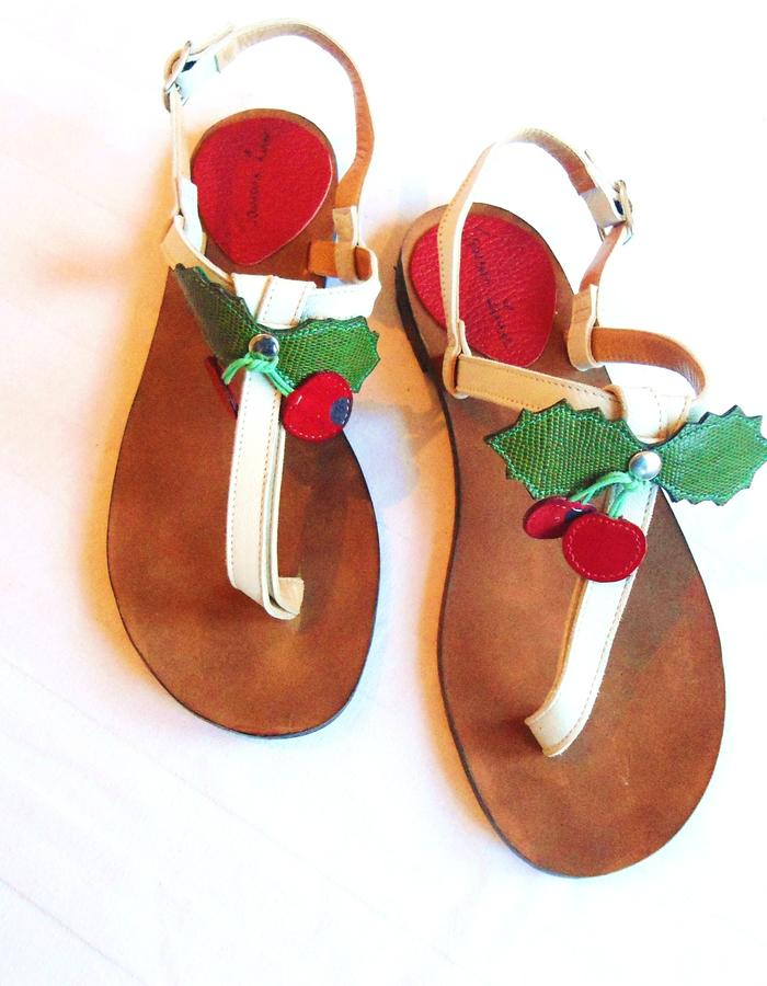 Leather sandals.Cherry applications.