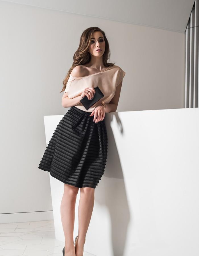Silk blouse and fringle skirt