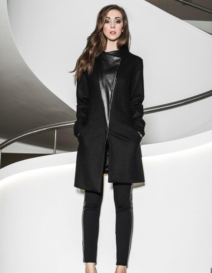 Woolen coat with leather detail