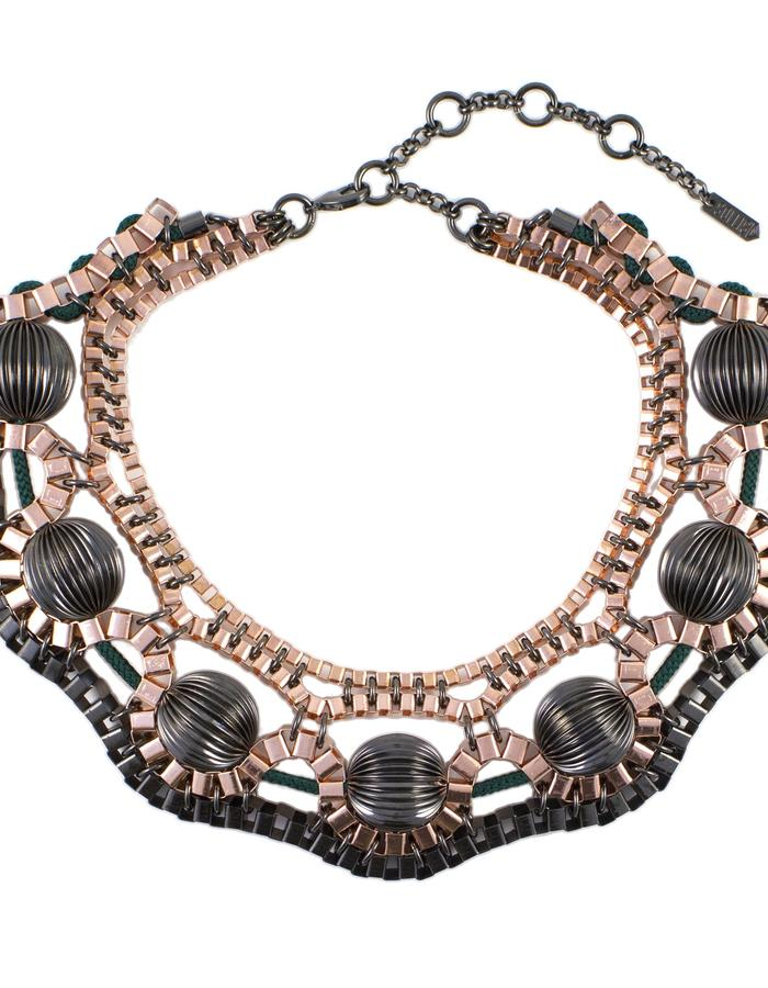 Rose gold orbital necklace by Sollis
