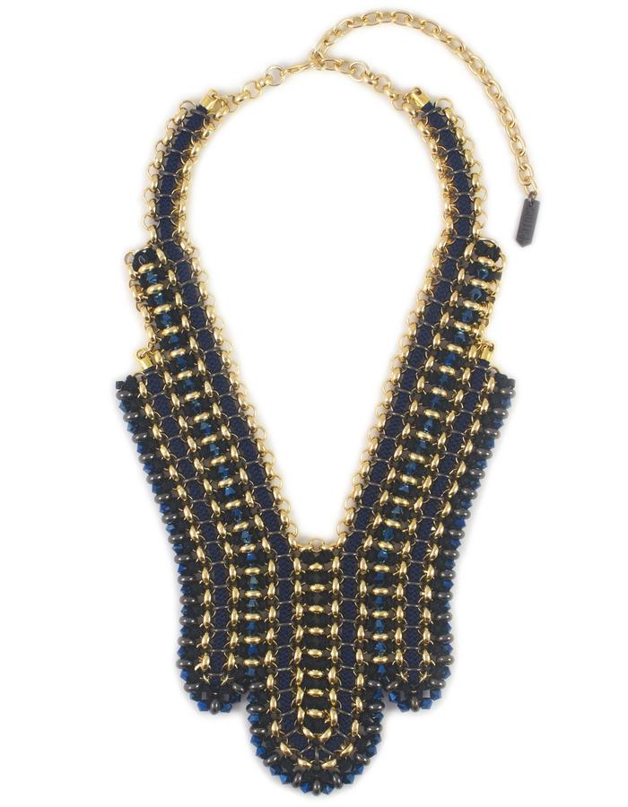 Black and blue Swarovski crystal deco Horizon necklace