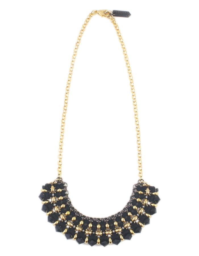 Woven chain and cord necklace by Sollis