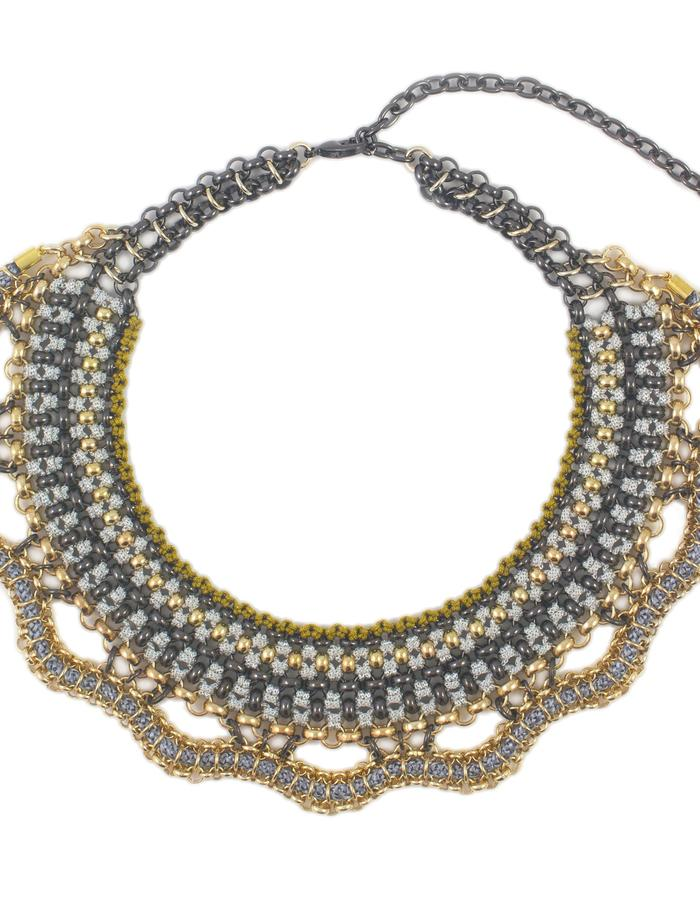 Woven chain and cord collar necklace by Sollis