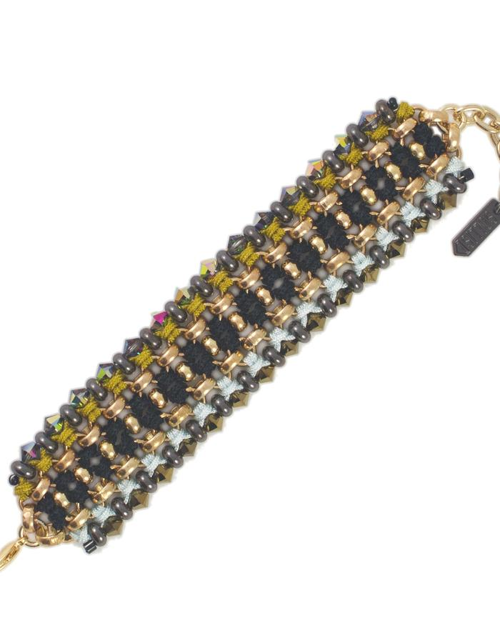 Woven Swarovski crystal cuff by Sollis