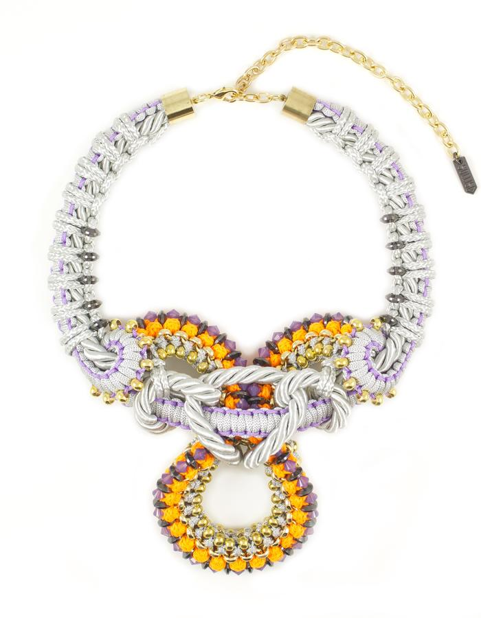 Swarovski crystal and cord knot necklace by Sollis