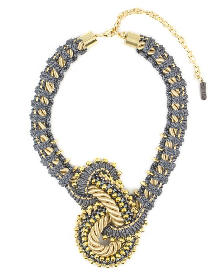 Chunky cord knot necklace by Sollis