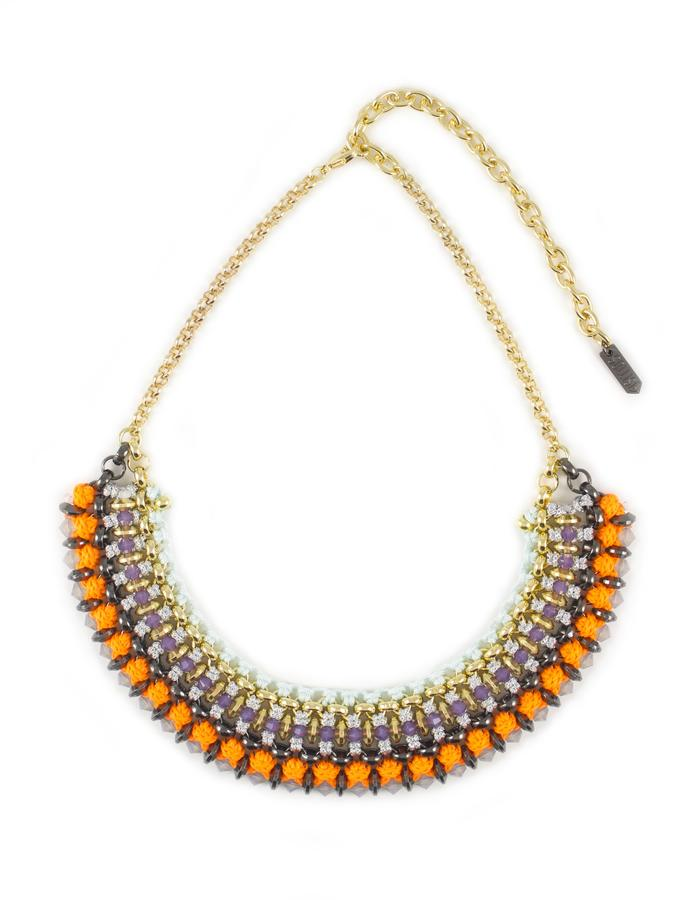 Swarovski crystal and woven cord necklace