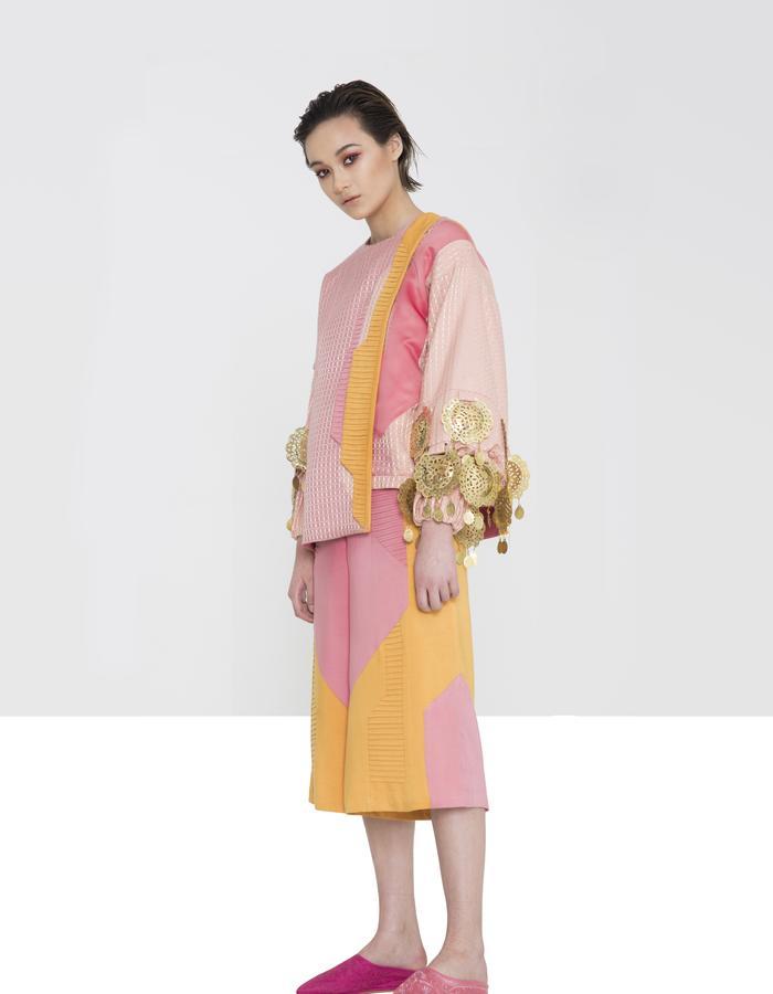 Look 1 - Cross Pollination - Asymmetric Tee, Medallion Sweater, Soft Panel Short