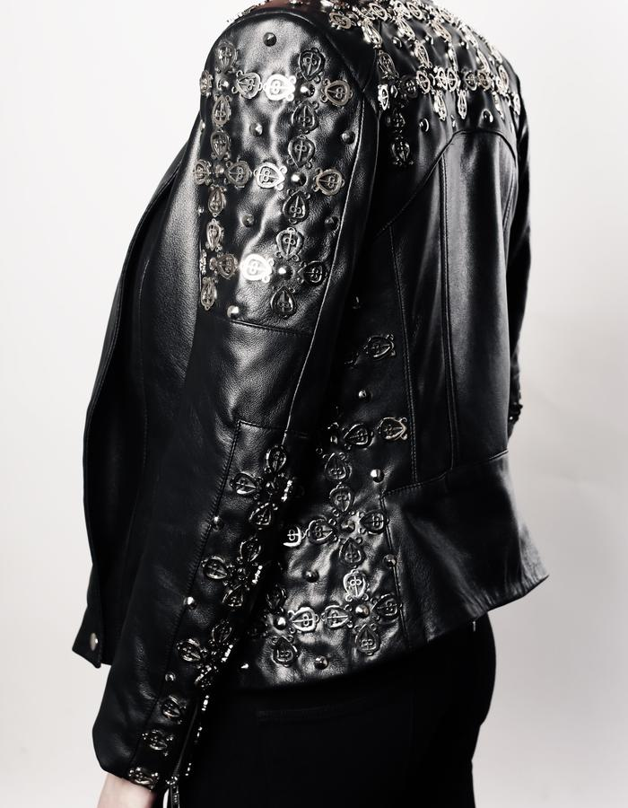 Lambskin leather jacket with nickel plated studs: symbol of love never loses its way home.