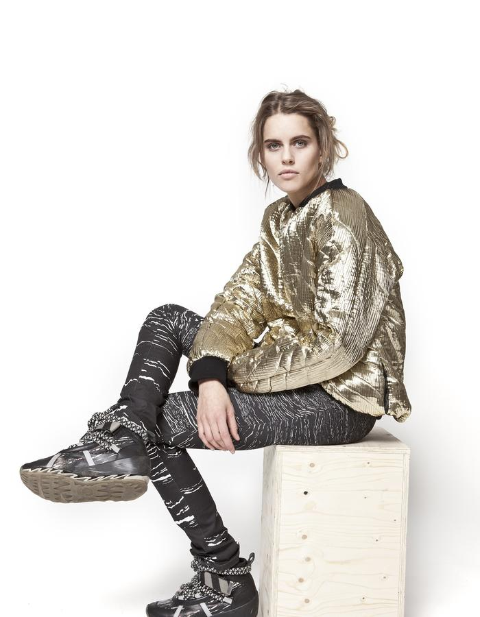 """All that glitters"" bomber jacket and ""Walking sticks"" jeans"