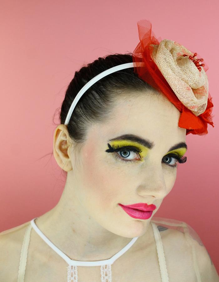 Sinamay headband with red tulle