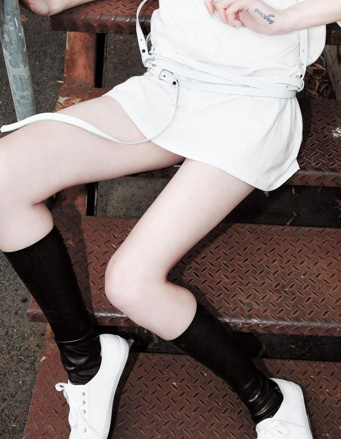 Emily Bye Latex Kneehigh Spats & White Body Belt