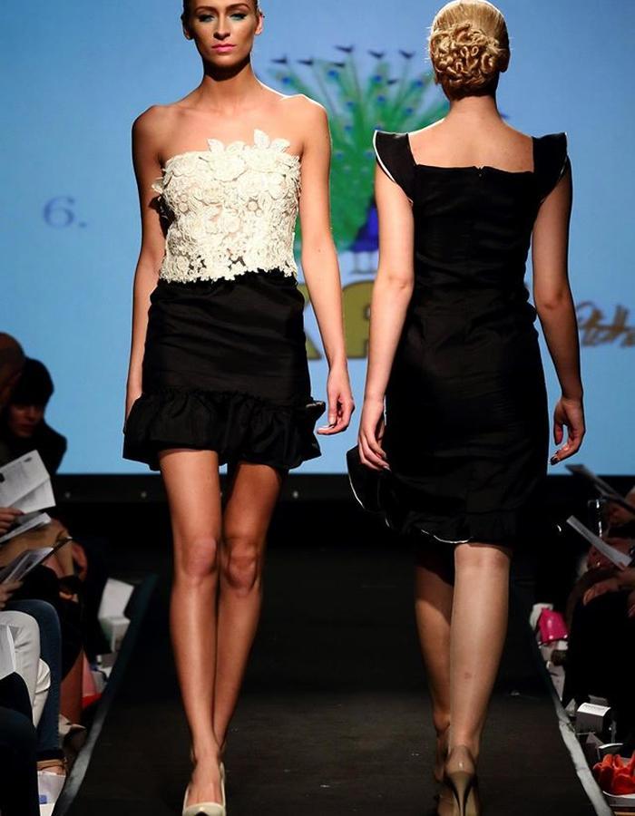 lace top& gathered  satin skirt